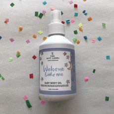 The gift label The gift label;  baby body oil Welcome Little one