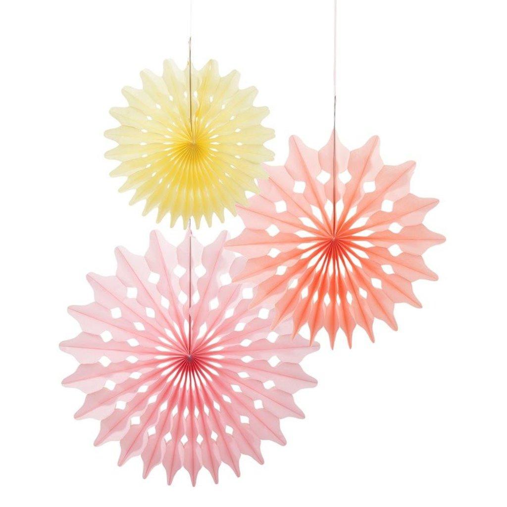 Paper fans 3 stuks pink/salmon pink/yellow Talking Tables