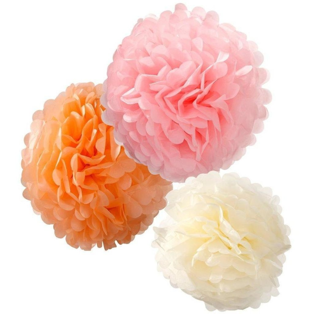 Pompons 3 stuks pink/peach/cream Talking Tables