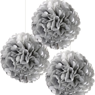 Pompoms zilver 3 stuks Talking Tables