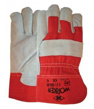 M-Safe Rundsplitlederen werkhandschoenen met rode kap