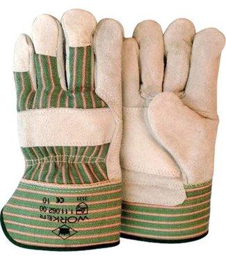 M-Safe Rundsplitlederen werkhandschoenen met palmversterking