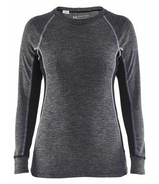 Blaklader Blåkläder 7200-1732 Dames onderhemd, 100% Merino WARM Grijs/Zwart