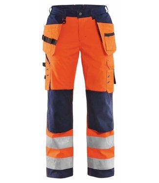 Blaklader Blåkläder 7167-2517 Dames Softshell werkbroek High Vis Oranje/Marineblauw
