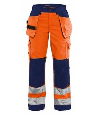 Blaklader Blåkläder 7156-1811 Dames werkbroek High Vis met spijkerzakken Oranje/Marineblauw