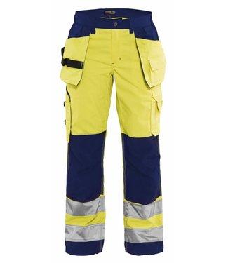 Blaklader Blåkläder 7156-1811 Dames werkbroek High Vis met spijkerzakken Geel/Marineblauw