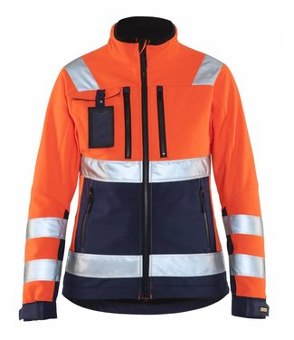Blaklader Blaklader 4902-2517 Dames Softshell jack High Vis Oranje/Marineblauw