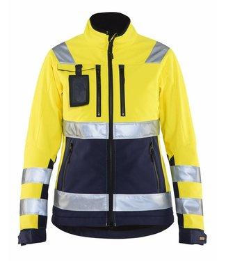 Blaklader Blåkläder 4902-2517 Dames Softshell jack High Vis Geel/Marineblauw