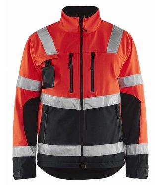 Blaklader Blåkläder 4900-2517 Softshell jack High Vis Fluor Rood/Zwart