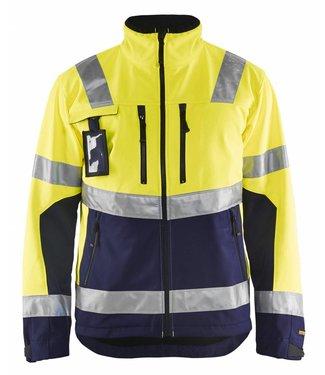 Blaklader Blaklader 4900-2517 Softshell jack High Vis Geel/Marineblauw