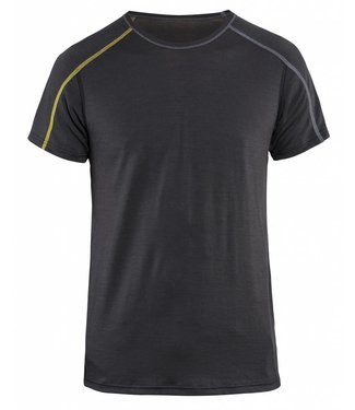 Blaklader Blåkläder 4798 Onderhemd korte mouw XLIGHT 100% Merino Donkergrijs/Geel