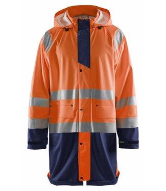 Blaklader Blåkläder 4324 Regenjas High vis LEVEL 1 Oranje/Marineblauw