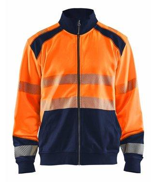 Blaklader Blåkläder 3558 Sweatshirt hele rits High Vis Oranje/Marineblauw