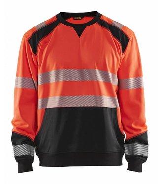 Blaklader Blåkläder 3541 Sweatshirt High Vis Fluor Rood/Zwart
