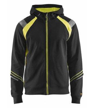 Blaklader Blaklader 3433 Hooded sweatshirt hele rits Visible Zwart/Geel