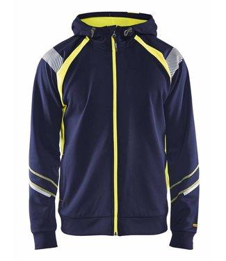 Blaklader Blaklader 3433 Hooded sweatshirt hele rits Visible Marineblauw/Geel