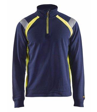 Blaklader Blaklader 3432 Sweatshirt halve rits Visible Marineblauw/Geel
