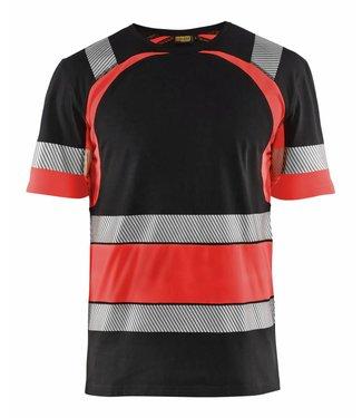 Blaklader Blåkläder 3421 T-shirt High Vis Zwart/Fluor Rood