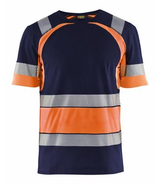 Blaklader Blåkläder 3421 T-shirt High Vis Marineblauw/Oranje