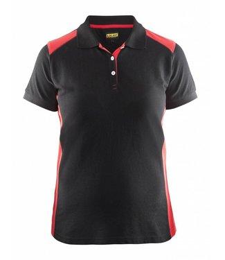 Blaklader Blåkläder 3390 Dames Poloshirt Piqué Zwart/Rood