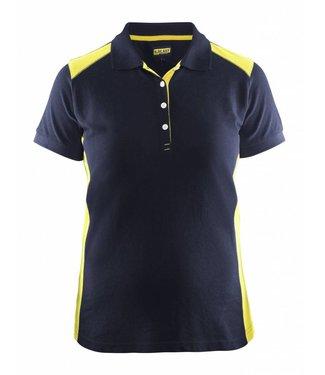 Blaklader Blaklader 3390 Dames Poloshirt piqué Marineblauw/Geel