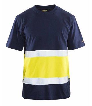 Blaklader Blaklader 3387 T-shirt High Vis Marineblauw/Geel