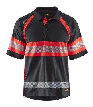 Blaklader Blaklader 3338 Poloshirt High Vis Klasse 1 Zwart/Fluor Rood