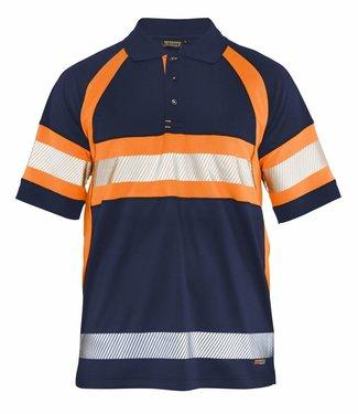 Blaklader Blaklader 3338 Poloshirt High Vis Klasse 1 Marineblauw/Oranje