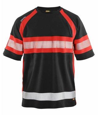 Blaklader Blaklader 3337 T-shirt High Vis Zwart/Fluor Rood