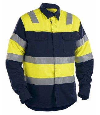 Blaklader Blåkläder 3228 FR Overhemd High Vis Marineblauw/Geel
