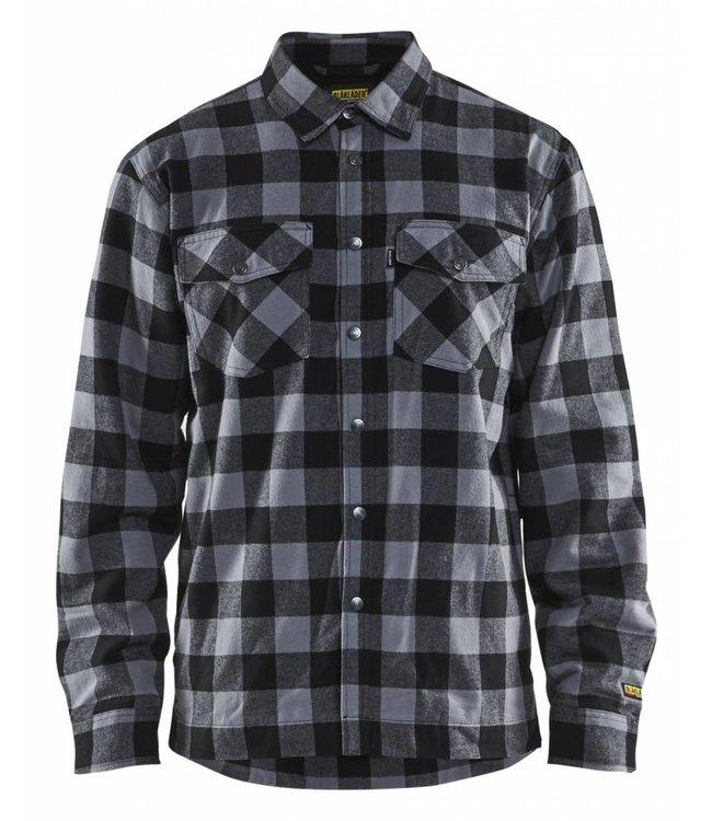 Donkergrijs Overhemd.Blaklader 3225 Overhemd Flanel Gevoerd Donkergrijs Zwart Cohen