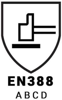EN388 Werkhandschoenen M Safe normering pictogram
