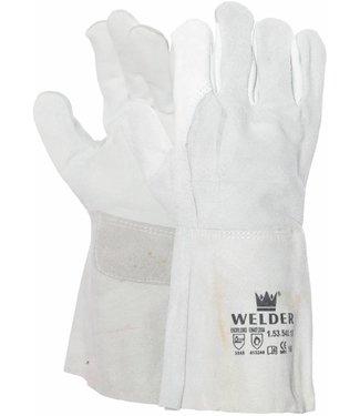M-Safe Lashandschoen van nerf-/splitleder met 8 cm kap