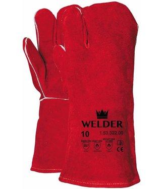 M-Safe Lashandschoen van rood splitleder, 3-vinger model