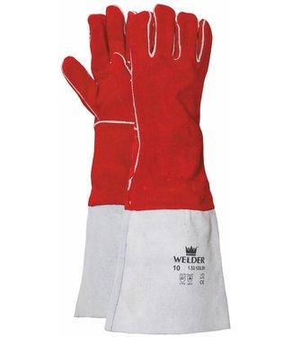 M-Safe Lashandschoen van rood splitleder met lange kap