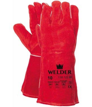 M-Safe Lashandschoen van rood splitleder met Kevlar garen gestikt