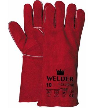 M-Safe Lashandschoen van rood splitleder