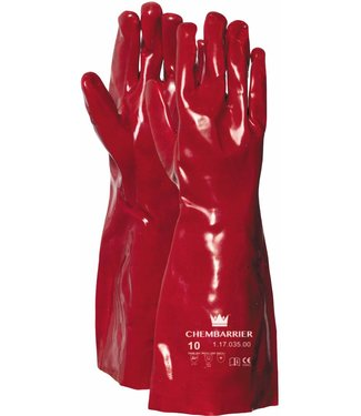M-Safe Handschoen PVC rood, enkel gedipt, 350 mm