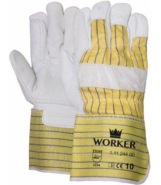 M-Safe Nerflederen handschoen met gerubberiseerde gele kap en pistoolversterking