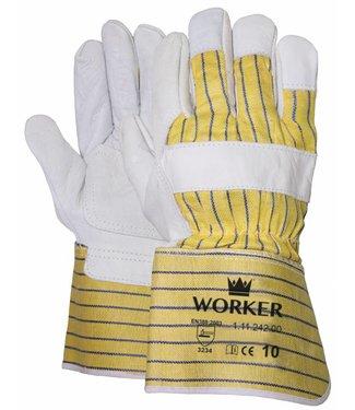 M-Safe Nerflederen handschoen met gerubberiseerde gele kap en palmversterking