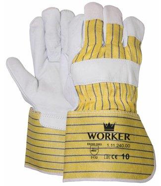 M-Safe Nerflederen handschoen met gerubberiseerde gele kap