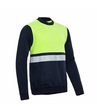 Santino SANTINO Sweater O-hals Helsinki Real Navy / Fluor Yellow