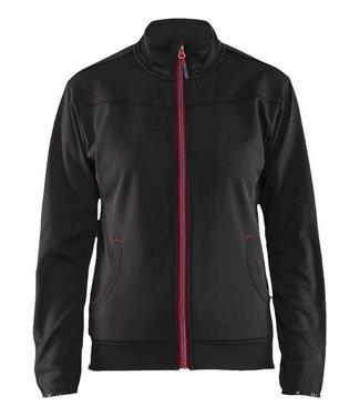 Blaklader Blaklader 3394-2526 Dames Service Fleece Sweatshirt met rits Zwart/Rood