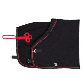 Fleece deken - zwart/zwart-rood