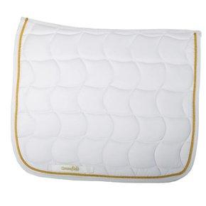 Tapis de selle dressage - blanc/blanc-or
