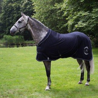 Greenfield Selection Fleece deken blauw mix met  GF logo