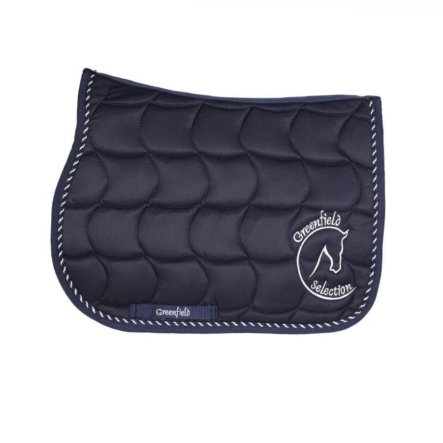 Greenfield Selection Tapis de selle poney – bleu/bleu-mix avec logo GF