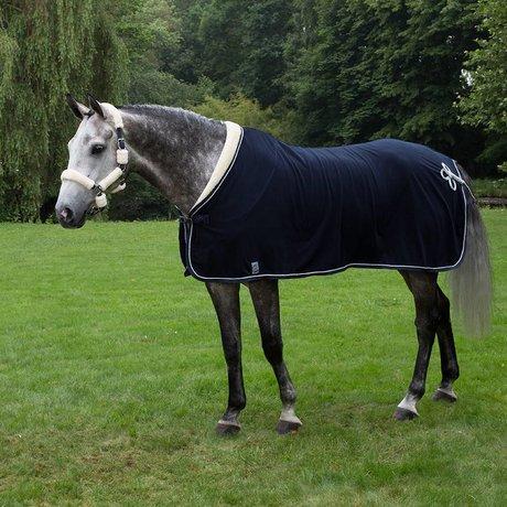 Greenfield Selection Fleece teddy collar & silver cord - navy