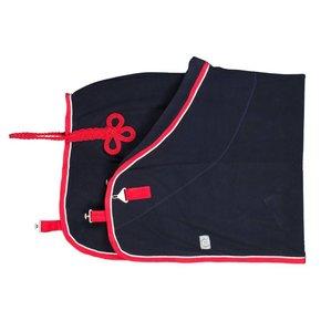 Fleece deken pony - blauw/rood-wit