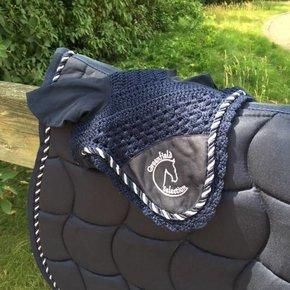 Bonnet poney - bleu marine/bleu marine-mix avec logo GF